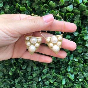 Designer Gold Plated Pearl Plate Hoops Earrings